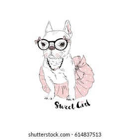 beautiful french bulldog girl dressed up in ballerina skirt, hand drawn graphic, animal illustration