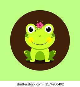 Beautiful friendly cartoon frog with a flower on his head. Green and brown background.