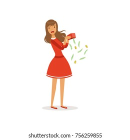 Beautiful frustrated young woman character in red dress shaking empty money box colorful flat vector Illustration