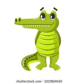 Beautiful funny cartoon crocodile. Large cute crocodile, alligator, semi-aquatic vertebrate predatory animal, reptile inhabits fresh, sea water. Inhabitant of tropical lowlands. Vector illustration.