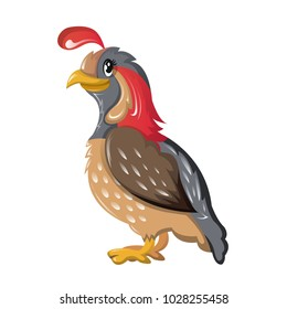 Beautiful funny cartoon quail. Large colorful migratory bird quail is common throughout world, dwells in fields on plains, in mountains. Bird of subfamily grouse, partridge. Vector illustration.
