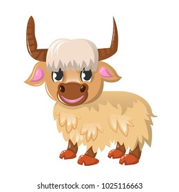 Beautiful funny cartoon wild bull - yak. Large colorful yak. A cloven-hoofed mammal of the genus of oxen. Inhabitant of the highlands of Tibet. An animal from the wild. Vector illustration.