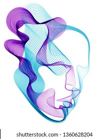 Beautiful futuristic illustration of human head made of dotted particles flow array, wavy shapes lines vector electronic soul of futuristic smart machines.