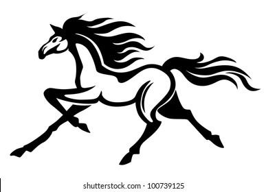 Beautiful gallop running black stallion. Vector illustration