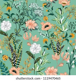 Beautiful garden blooming flower in many kind of floral seasonal seamless pattern vector ,hand drawing style for fashion, fabric and all prints in cute green mint background.
