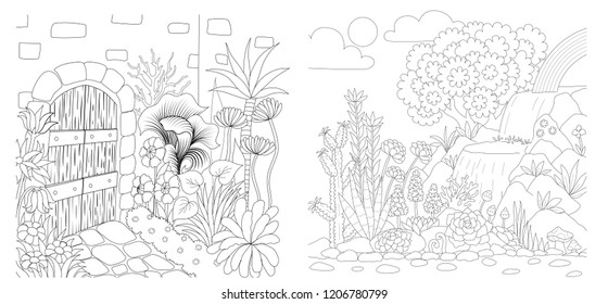 Beautiful garden decoration collection ofr illustration and coloring book page for anti stress. Stock Vector
