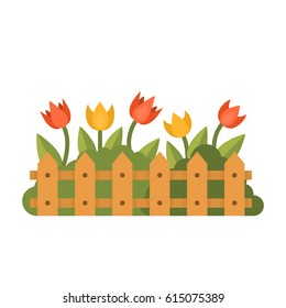Beautiful garden with different flowers behind the fence. Green herbal plant isolated on white. Flat style vector illustration