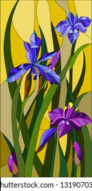 Beautiful garden flowers and bouton of Iris, floral vector composition / stained glass window