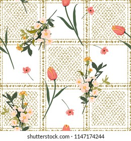 Beautiful garden flowers on hand drawn window check or grid seamless pattern vector scatter repeat for fashion,fabric ,and all prints on white background.