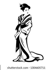 beautiful geisha woman wearing traditional kimono - standing japanese girl black and white vector design