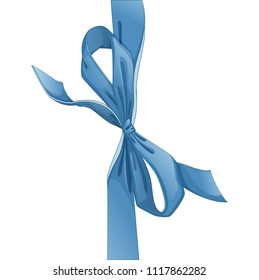 A beautiful gently blue bow for decorating a gift or greeting card. Isolated vector element on white background. Cartoon style.