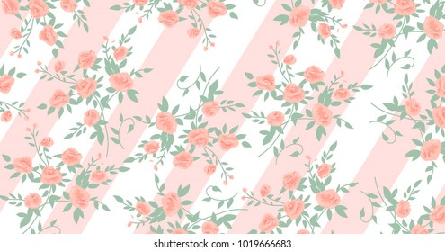 Beautiful geometric flowers roses pattern background