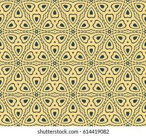 beautiful geometric seamless pattern of different geometric shapes. vector illustration. floral style. yellow, dark blue color