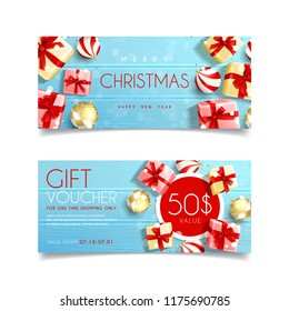 Beautiful gift voucher for Christmas. Top view on realistic gift boxes and Christmas balls on rustic wooden texture. Vector illustration. Design of Discount Coupon Usable for Invitations and Tickets.