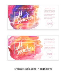 Beautiful gift voucher set with bright watercolor background and lettering. Abstract templates ideal for beauty and fashion companies.