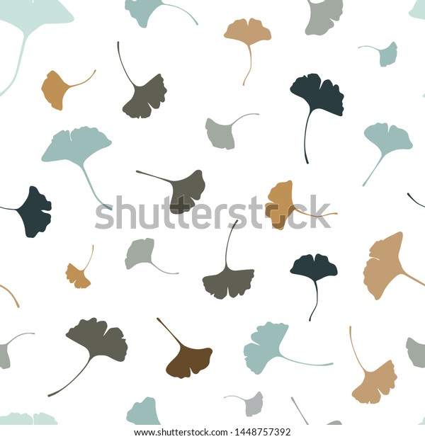 Beautiful Ginkgo Leaves Seamless Pattern Natural Stock Vector Royalty Free 1448757392