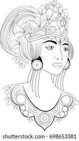 A beautiful girl bali dancer with flowers in hair. Amazing artwork ideal for coloring.