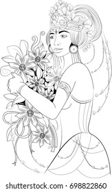 A beautiful girl bali dancer with flowers in hair and hands. Amazing artwork ideal for coloring.
