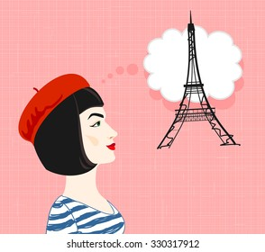 A beautiful girl in a beret dreams of Paris. Vector.