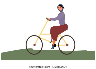 Beautiful girl with a bike nature walk. Cartoon flat vector illustration. A woman rides on the green grass. Spring Autumn Design joy for various purposes.