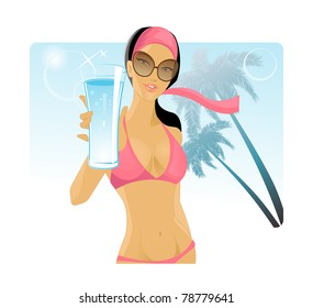 beautiful girl in a bikini offers a glass of drink