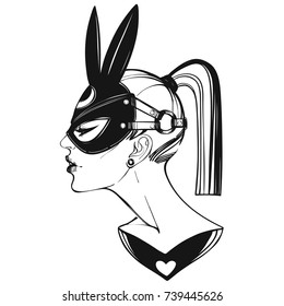 Beautiful girl in a black hare mask.Hand draw retro style art. Vector illustration.