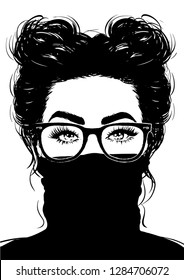 Beautiful Girl in Black Turtleneck and glasses
