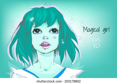 Blue Hair Teenager Stock Vectors Images Vector Art Shutterstock