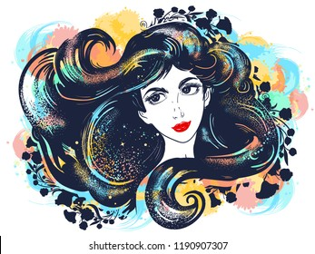 Beautiful girl brunette and flowers two color tattoo watercolor splashes style.  Goddess art. Magic woman, black hair, symbol of spa, beauty salon, fashion face, lady t-shirt design