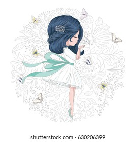 Beautiful girl with butterflies and flowers vector design.