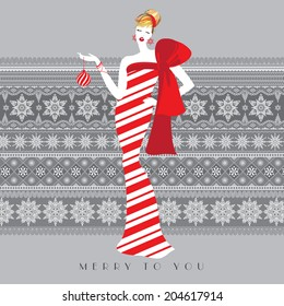 Beautiful girl in candy cane like white and red stripes long dress with red bow holding Christmas ball. Merry to you. Snowflakes pattern background. Season greetings. Vector EPS 10 illustration.