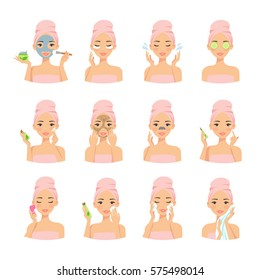 Beautiful girl cleaning and care her face with various actions, facial, treatment, beauty, healthy, hygiene, lifestyle, female vector illustration set  isolated on white background.