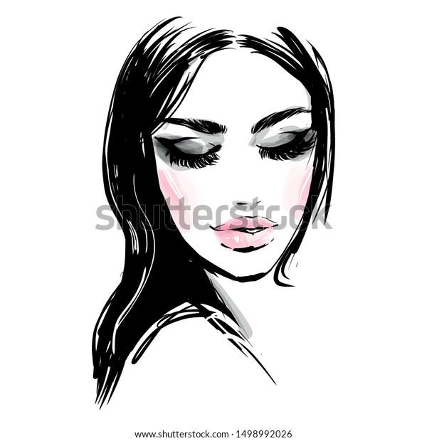 Beautiful Girl Closed Eyes Black White Stock Vector Royalty Free