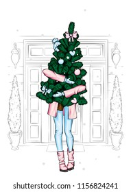 A beautiful girl in a coat and boots is holding a Christmas tree. New Year's and Christmas. Winter and holidays. Vector illustration for a postcard or a poster. Fashion illustration.