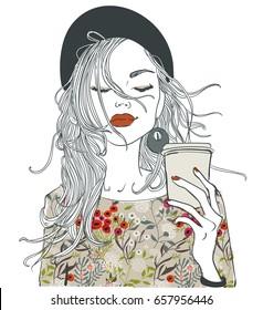 Beautiful Girl With Coffee Cup