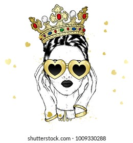 Beautiful girl in the crown and glasses with hearts. Valentine's Day, love and friendship. Illustration for a postcard or a poster.