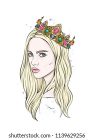 Beautiful girl in crown. Girl with long hair. Vector illustration for a postcard or a poster, print for clothes. Fashion & Style. Vintage.