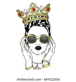 Beautiful girl in the crown and sunglasses. Vector illustration for a postcard or a poster, print for clothes. Fashion & Style.