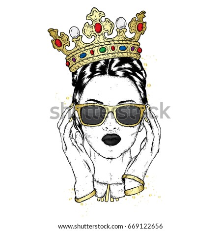 beautiful girl crown sunglasses vector illustration stock