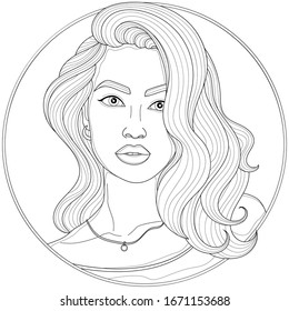 Beautiful girl with curls and pendant.Coloring book antistress for children and adults. Illustration isolated on white background.Zen-tangle and doodle style. Black and white drawing