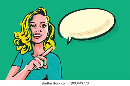 Beautiful girl with curly blond hair pointing to the speech bubble which implies some sale or discount deal. Pop art woman advertising banner.