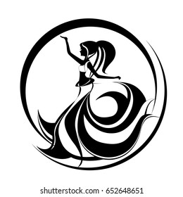 Beautiful girl dancing belly dance. Oriental dancing logo. Abstract illustration of long haired woman dancing show exotic dance.