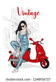 Beautiful girl in a denim jumpsuit sits on a vintage moped. Vector illustration for postcard or poster, print for clothes. Fashion & Style.