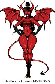 beautiful girl devil demon succubus with fitness figure wings and horns