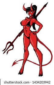 beautiful girl the devil holds the pitchfork in the hands of a fitness body