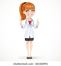 Beautiful girl doctor in a medical coat shows gesture thumbs up two hands