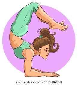 Beautiful girl does yoga exercise, vector illustration isolated on white.