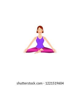 beautiful girl is doing yoga, sitting in siddhasana siddha pose