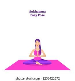 beautiful girl is doing yoga, sitting in sukhasana easy pose