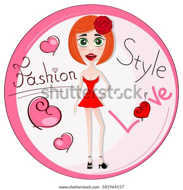 Beautiful girl in dress logo fashion illustration